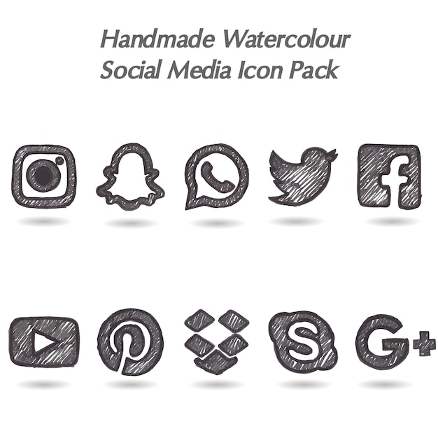Hand made watercolor social media icon pack Free Vector