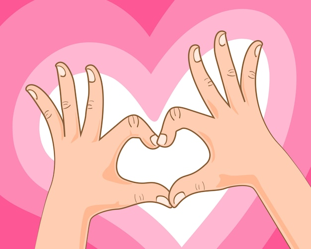 Hand making heart sign Premium Vector