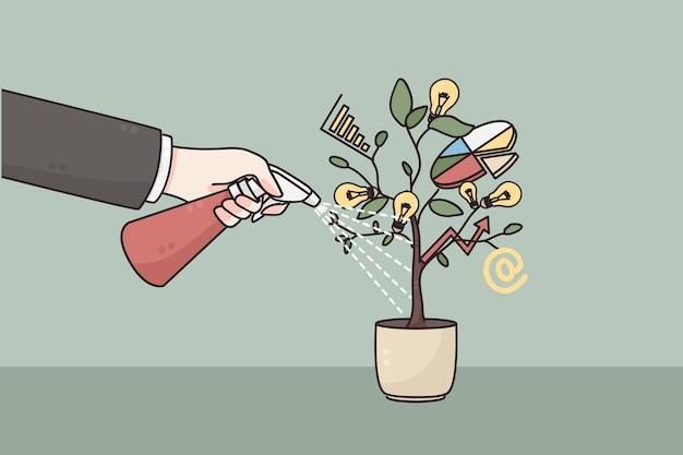 Рука бизнесмена полива с запуском бизнес-проекта Premium векторы