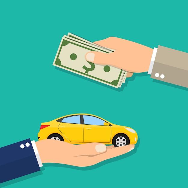 Рука бизнесмена с деньгами, покупая автомобиль Premium векторы