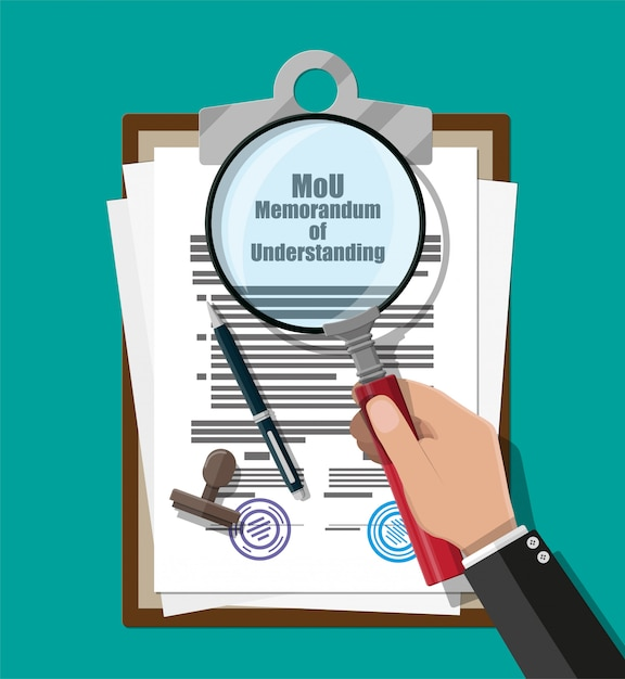Рука юриста с лупой проверяет меморандум о взаимопонимании документа. моу юридические документы. исследовательские документы. контрактное соглашение бумажный бланк с печатью, ручка. векторная иллюстрация в плоском стиле Premium векторы