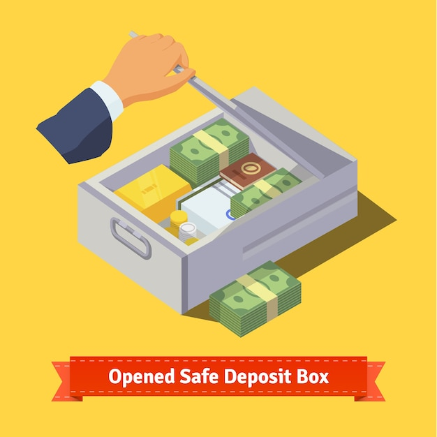 Hand opening a safe deposit box full of valuables Free Vector
