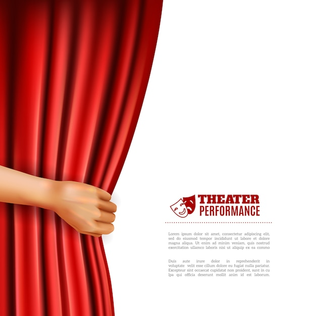 Hand opening theatre curtain illustration Free Vector