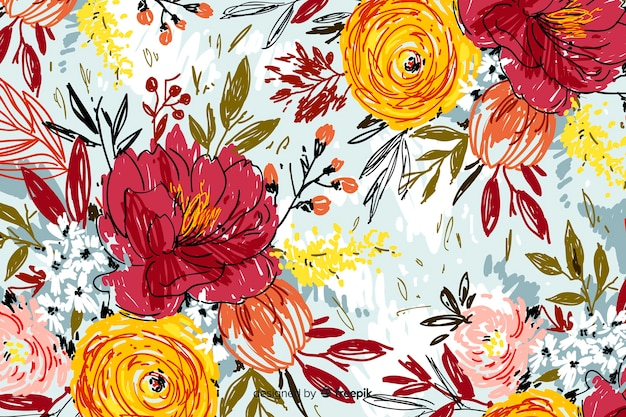 Hand painted abstract floral background Free Vector