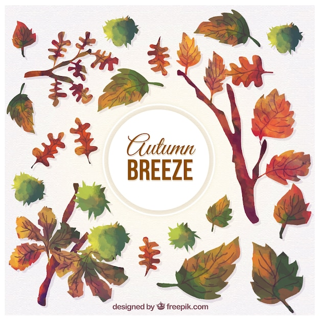 Hand painted autumn breeze elements Free Vector