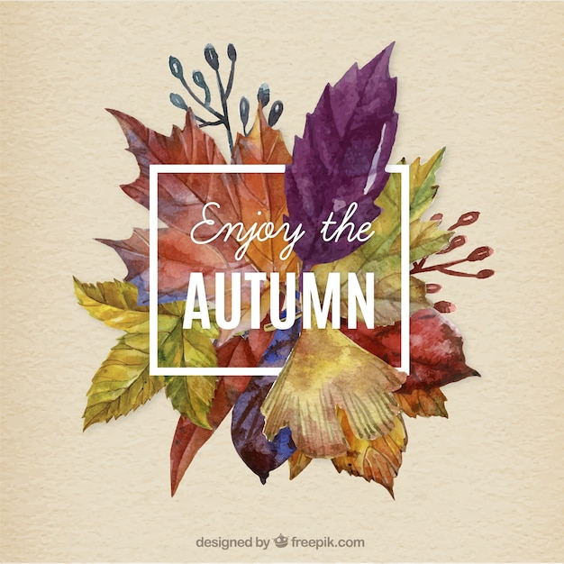 Hand painted autumn leaves background Free Vector