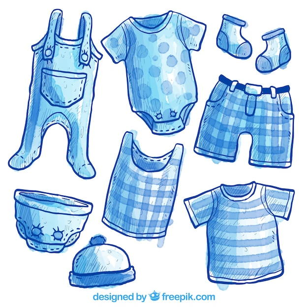 Hand painted baby clothing Free Vector