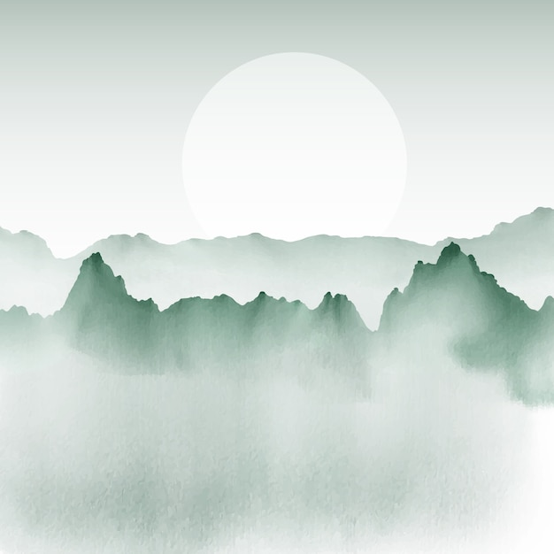 Hand painted background of a mountain landscape Free Vector