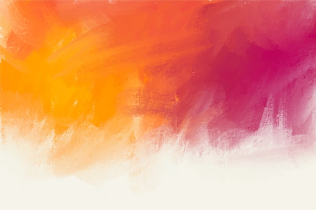 Hand painted background in violet and orange colours Free Vector