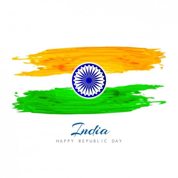 Hand painted background with indian flag Vector | Free Download