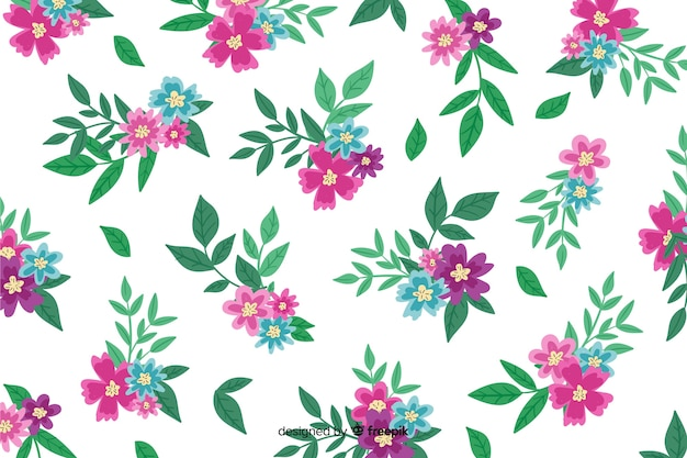 Hand painted background with pink flowers Free Vector