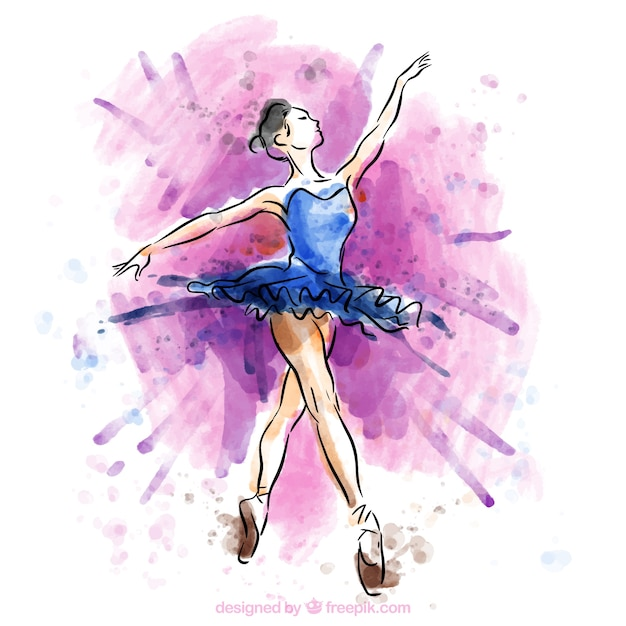 Hand painted ballet dancer Free Vector