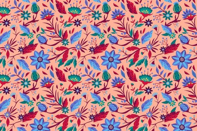 手描きの美しいエキゾチックな花柄 無料ベクター