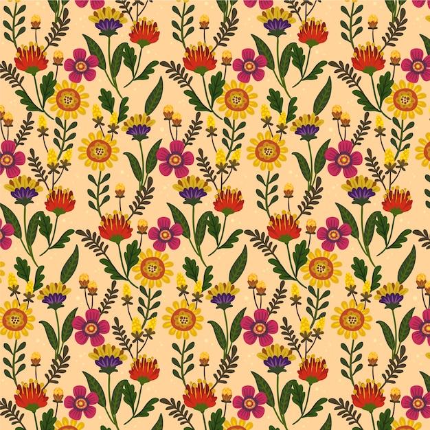 손으로 그린 아름다운 이국적인 꽃 패턴 프리미엄 벡터
