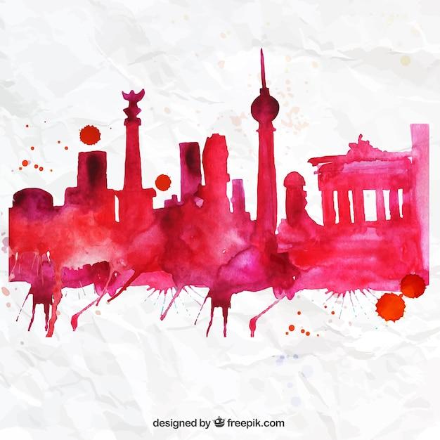 Hand painted berlin skyline Free Vector