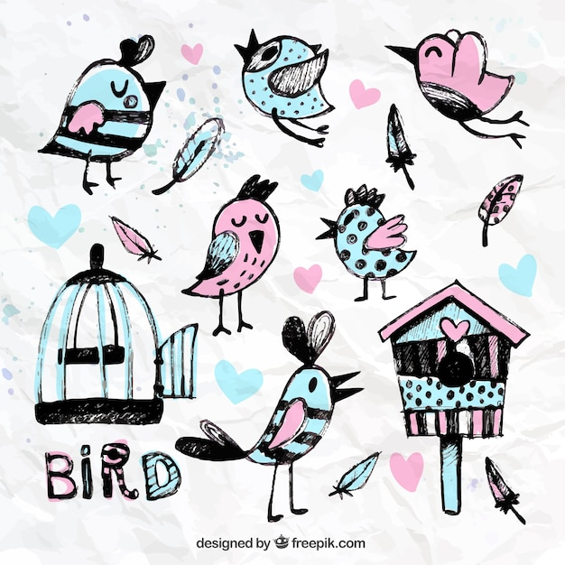 Hand painted birds and cages Free Vector