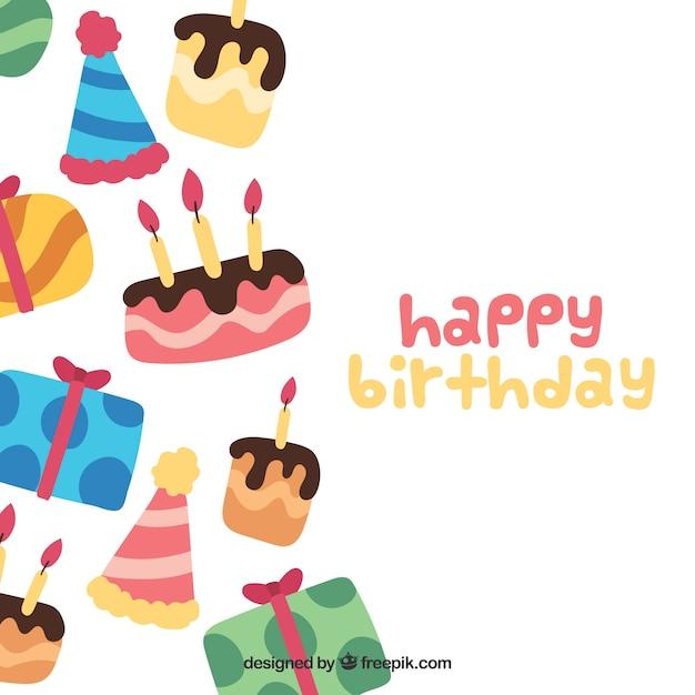 Hand painted birthday cake and birthday\ gifts