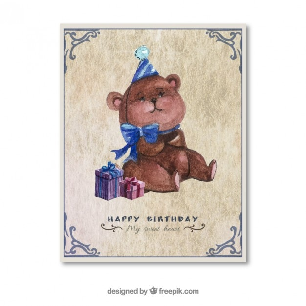 Hand Painted Birthday Card With A Teddy Bear Stock Images Page