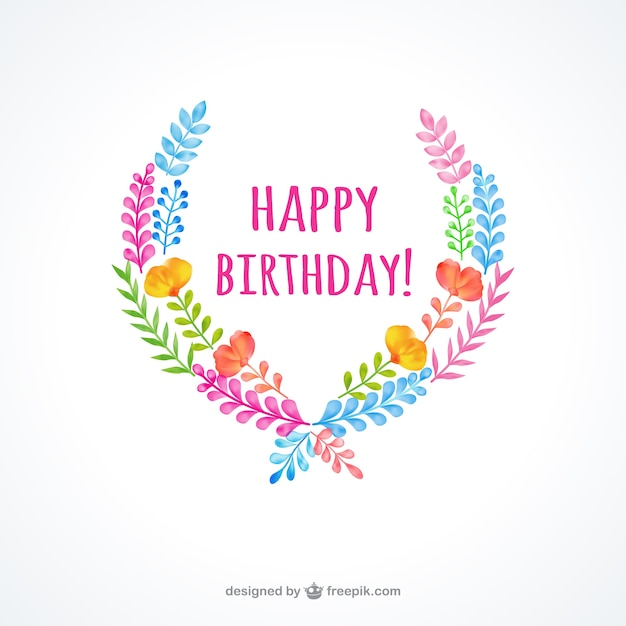 Hand Painted Birthday Card Vector Free Download