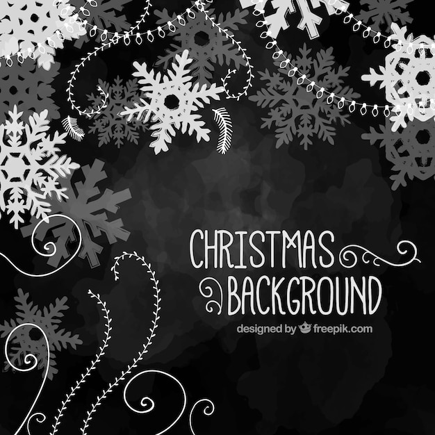 Hand painted black christmas background Vector | Premium Download