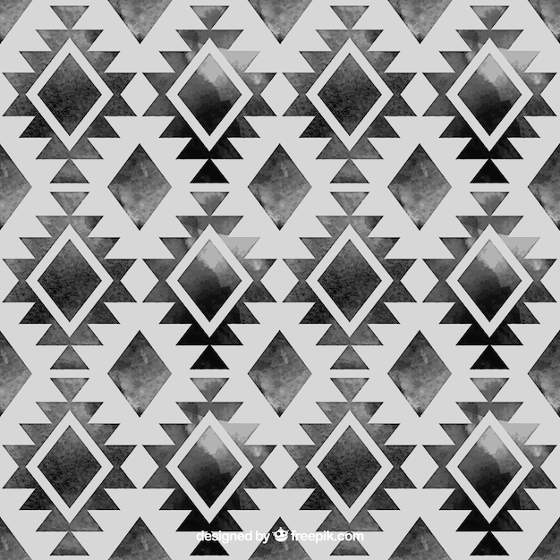 Hand painted black ethnic pattern Free Vector