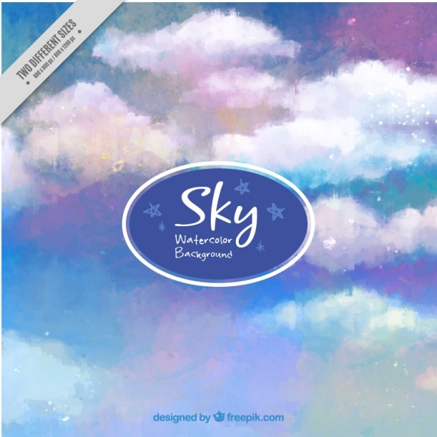 Hand painted blue and purple sky\ background