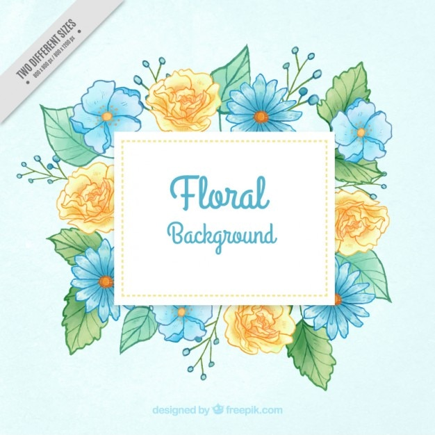 Hand painted blue and yellow flowers\ background