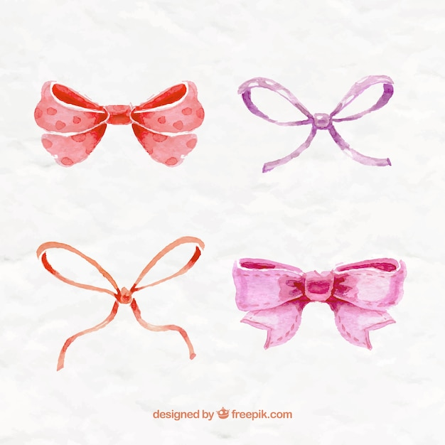 Hand painted bows collection Free Vector