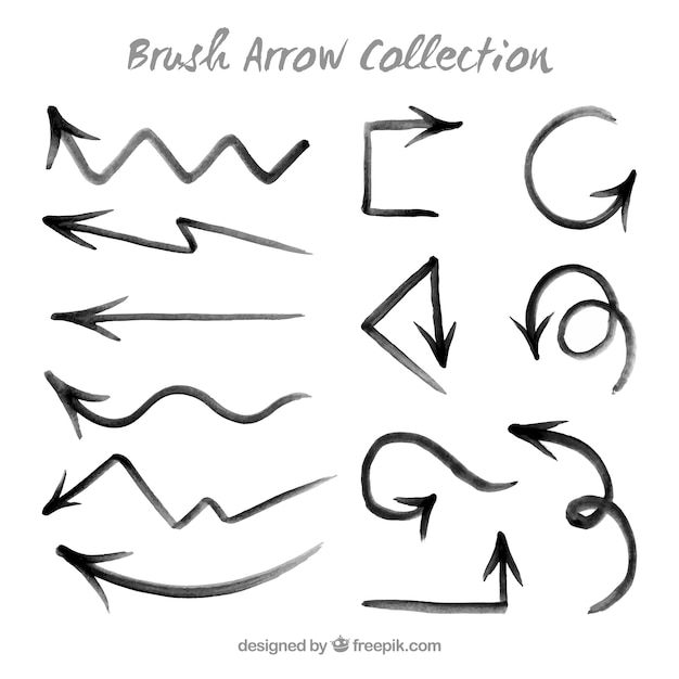 Hand painted brush arrows Free Vector
