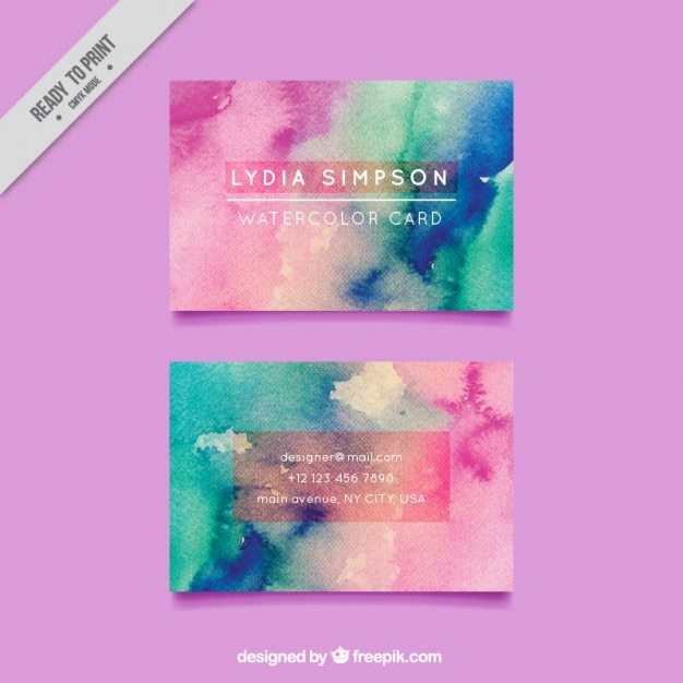 Hand painted business card design vector free download hand painted business card design free vector colourmoves