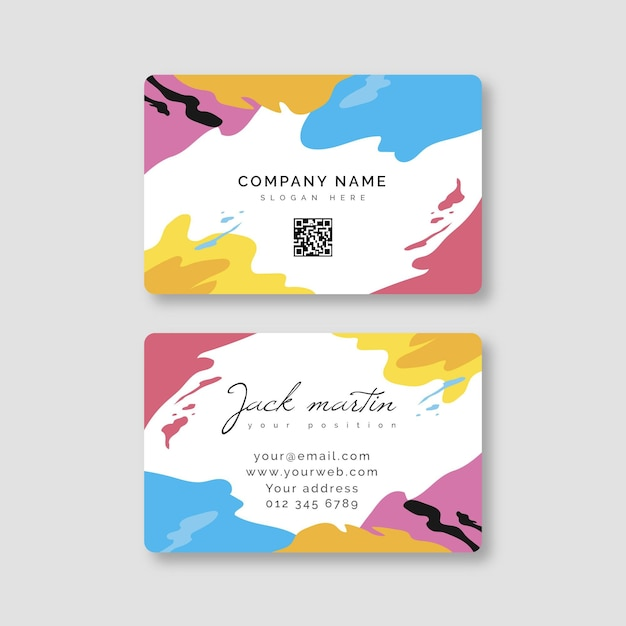 Hand painted business card style Free Vector