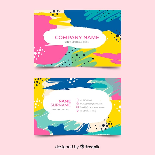 Hand painted business card template Free Vector