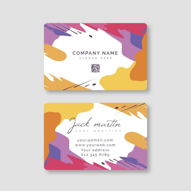 Hand painted business card theme Free Vector