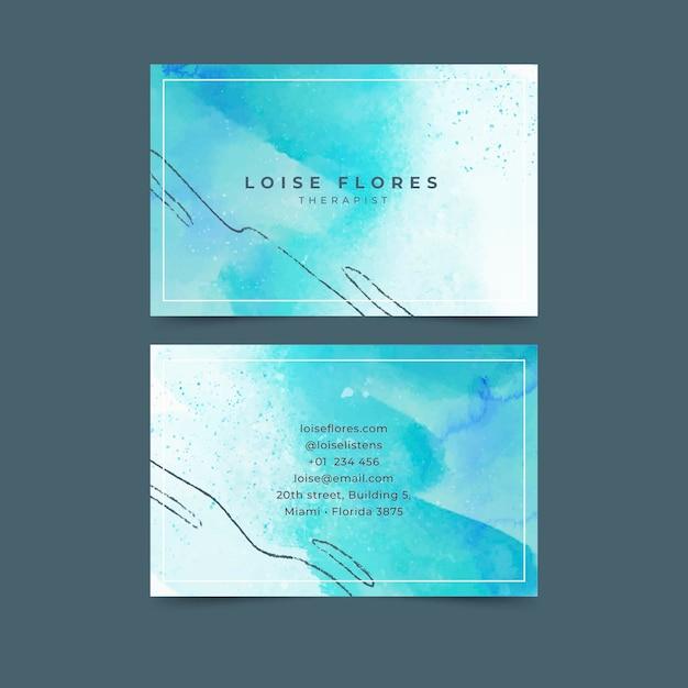 Раскрашенный вручную шаблон визитных карточек Premium векторы