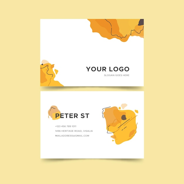 Hand painted business cards Free Vector