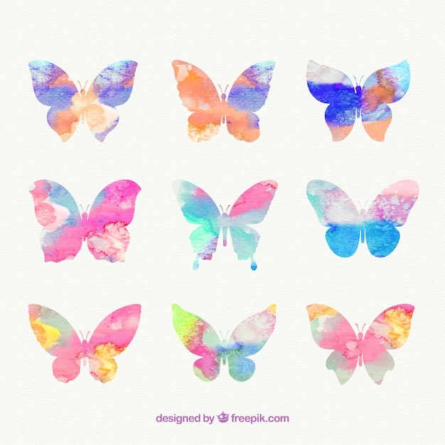 Hand painted butterflies Premium Vector
