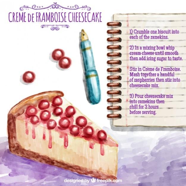 Hand painted cheesecake recipe Free Vector