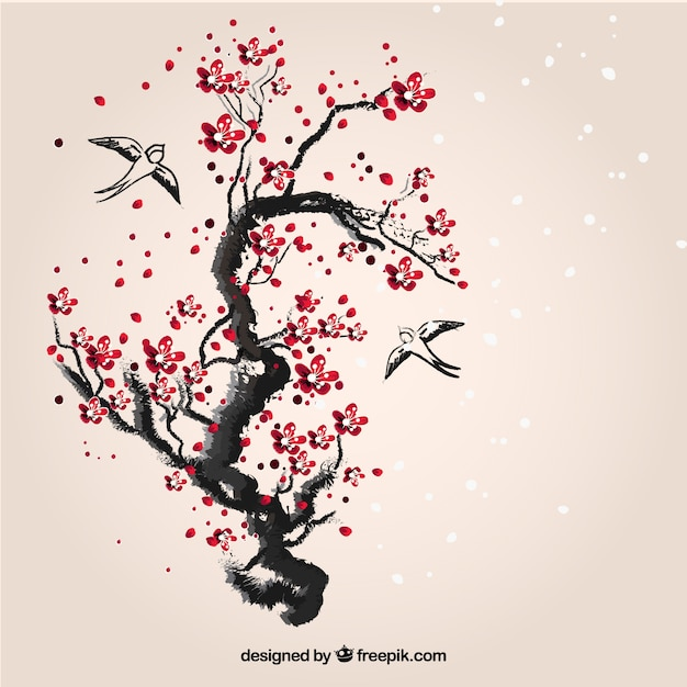 Hand Painted Cherry Tree Vector Free Download