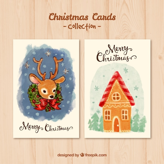 Hand painted christmas card pack vector free download for Painted christmas cards