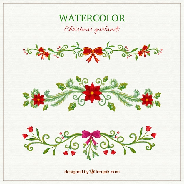 hand painted christmas garlands Free Vector