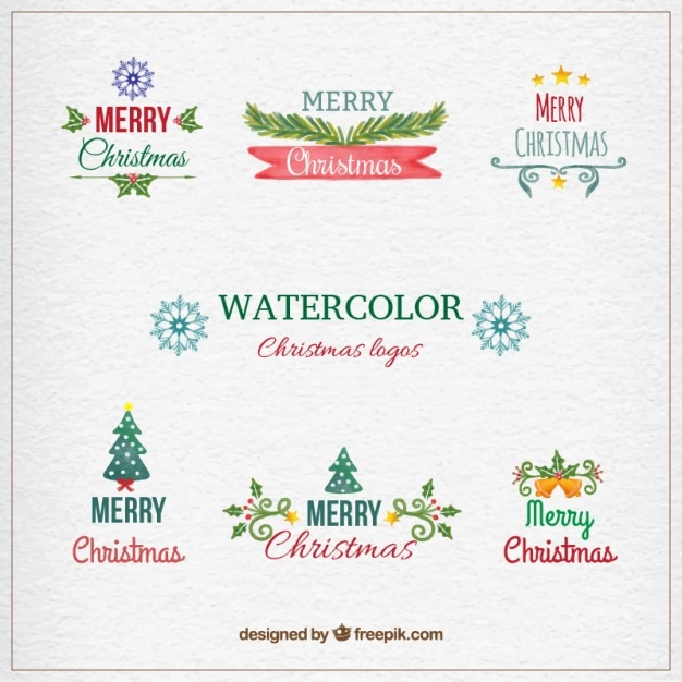 hand painted christmas logos premium vector - Merry Christmas Logos