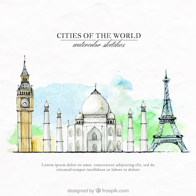 Hand painted cities of the world Free Vector