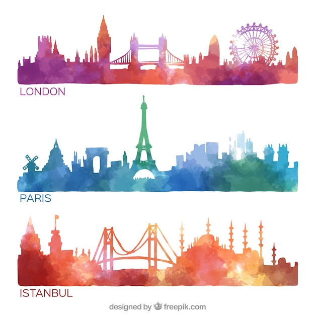 Hand painted city skylines collection Free Vector