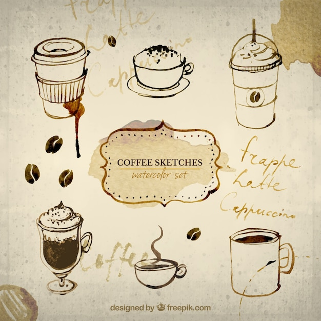Hand painted coffee sketches Free Vector