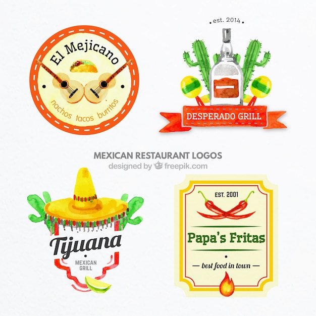 Hand painted colored mexican food logos vector free download for Mexican logos pictures