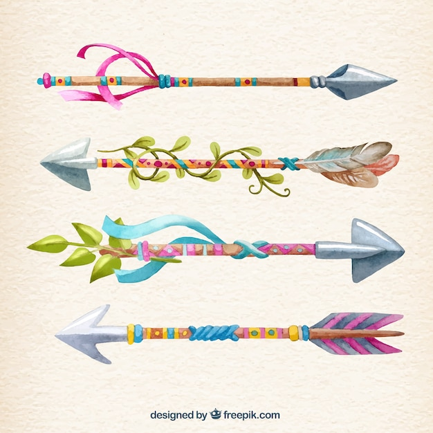 Hand painted colorful arrows