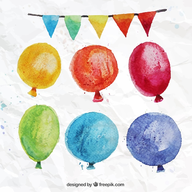 Hand painted colorful balloons
