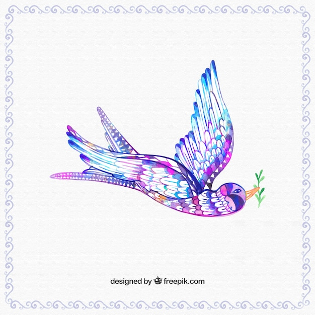 Hand painted colorful bird