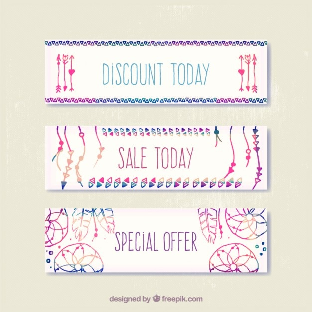 Hand painted colorful boho elements banners
