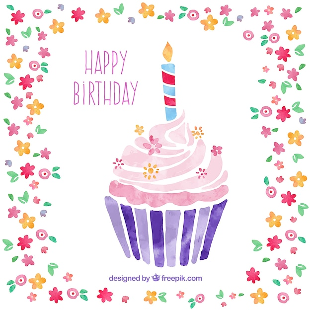 Happy Birthday Card Freepik ~ Hand painted cupcake card for birthday vector free download